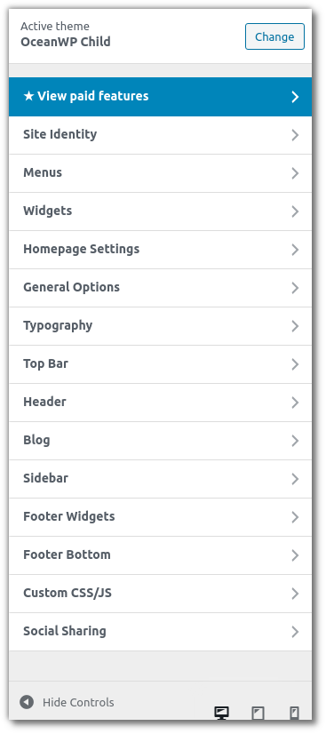 Getting Started With WordPress - OceanWP customizer main options