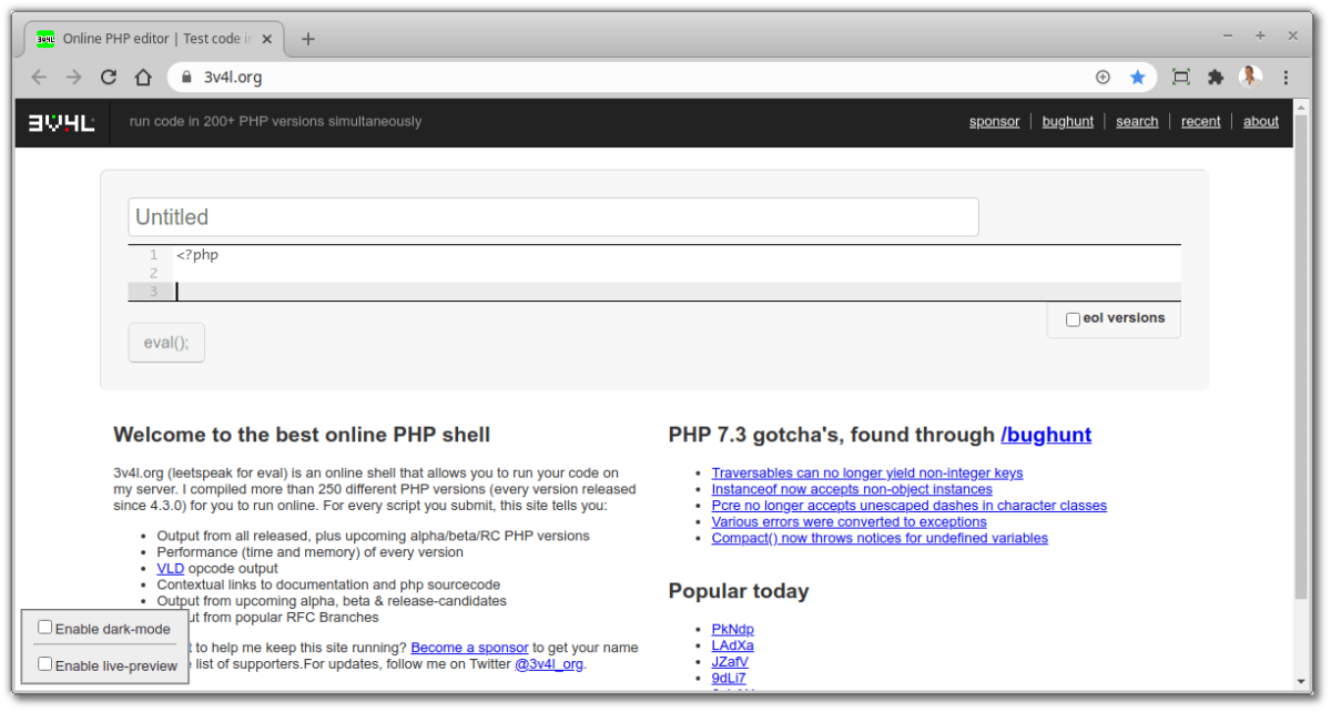 Free Online Developer Tools - Online PHP Editor