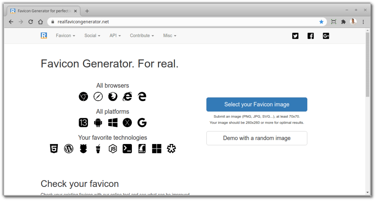 Free Online Developer Tools - Real Favicon Generator