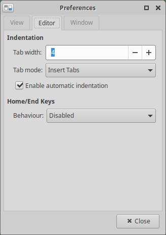 Xubuntu 20.04 Mousepad settings Editor