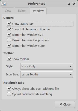 Xubuntu 20.04 Mousepad settings Window