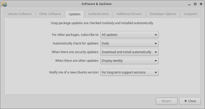 Xubuntu 20.04 Updates settings