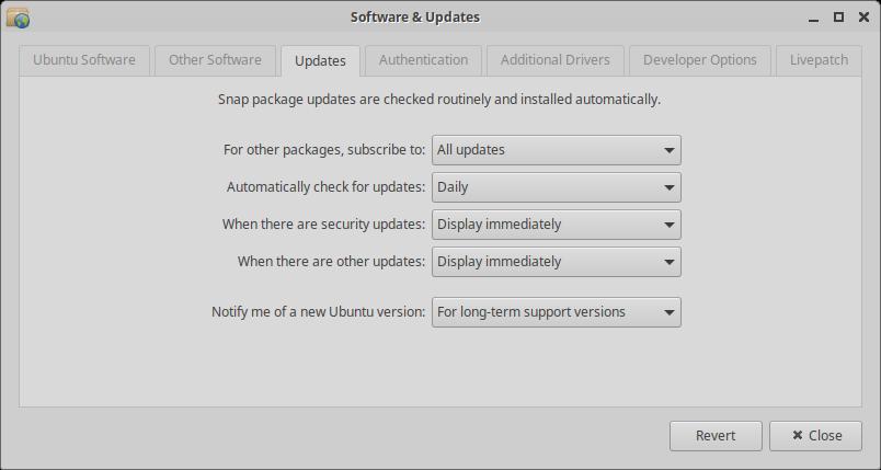 Xubuntu 20.04 Updates settings modified