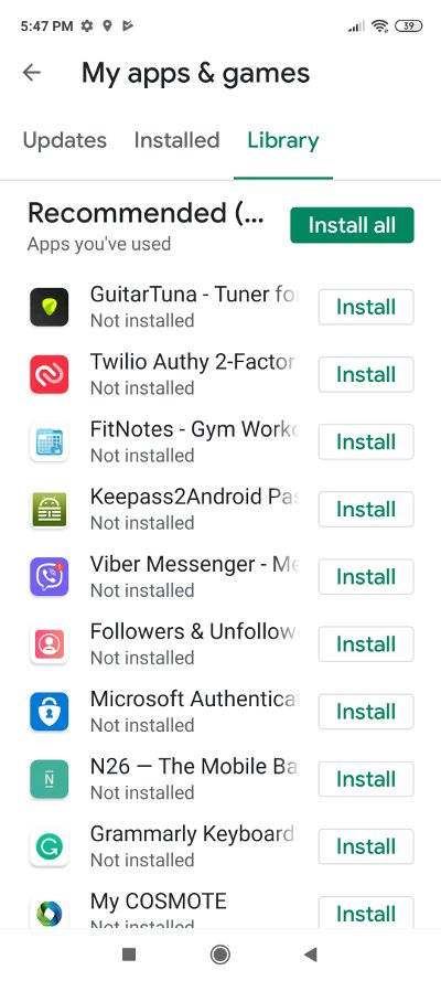 Google Play - Apps in other devices