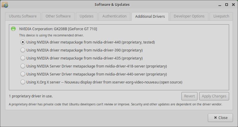 Xubuntu 20.04 Additional Drivers Nvidia