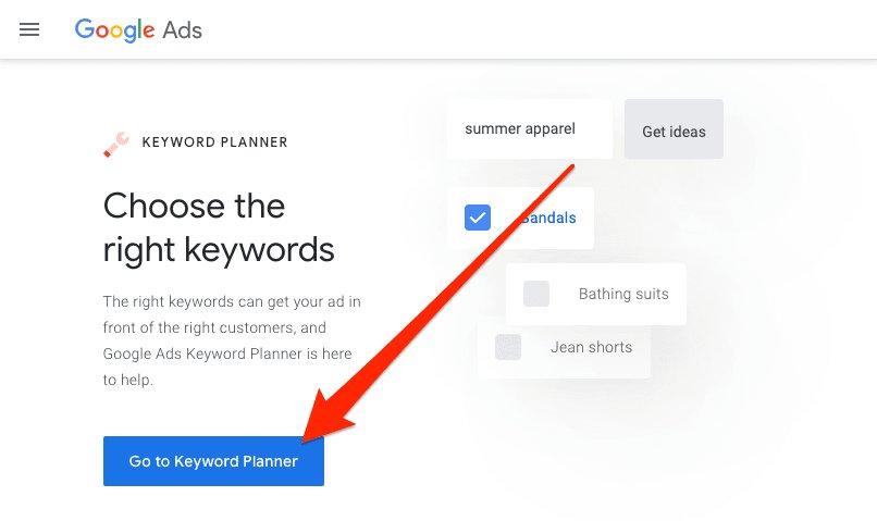 Choose Keywords Google Ads
