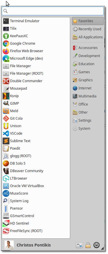 Linux Workstation With Xubuntu 20.04 - Whisker menu
